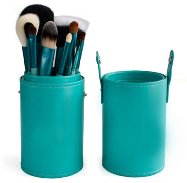 12 Pcs Makeup Brush Set in Round Turquoise Leather Case
