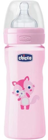 Chicco CH20623-11 Well Being Medium Flow 250 ml Fedding Bottle for Girls