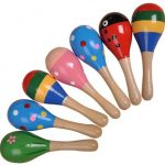7Pcs Shaker Kids Wooden Maracas Rattle Shakers Musical Educational Toys (1Green 1Pink 1Red 2Blue 2Multi-color)