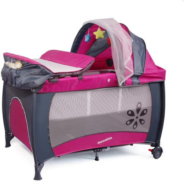 MamaKids Travel Cot Portable play yard Multi Dots Bed 2