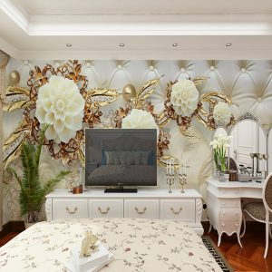 Wallpaper / Mural / Wall Cloth Canvas Wall Covering - Adhesive required Floral / Art Deco / 3D #07217632